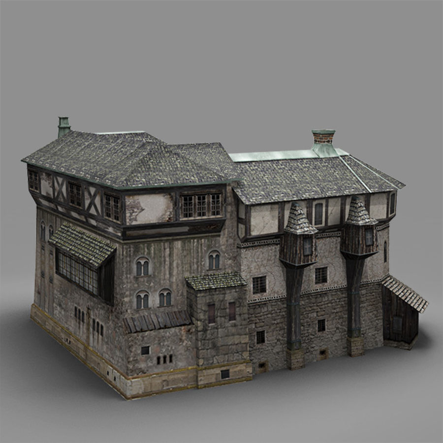 old Medieval House royalty-free 3d model - Preview no. 2
