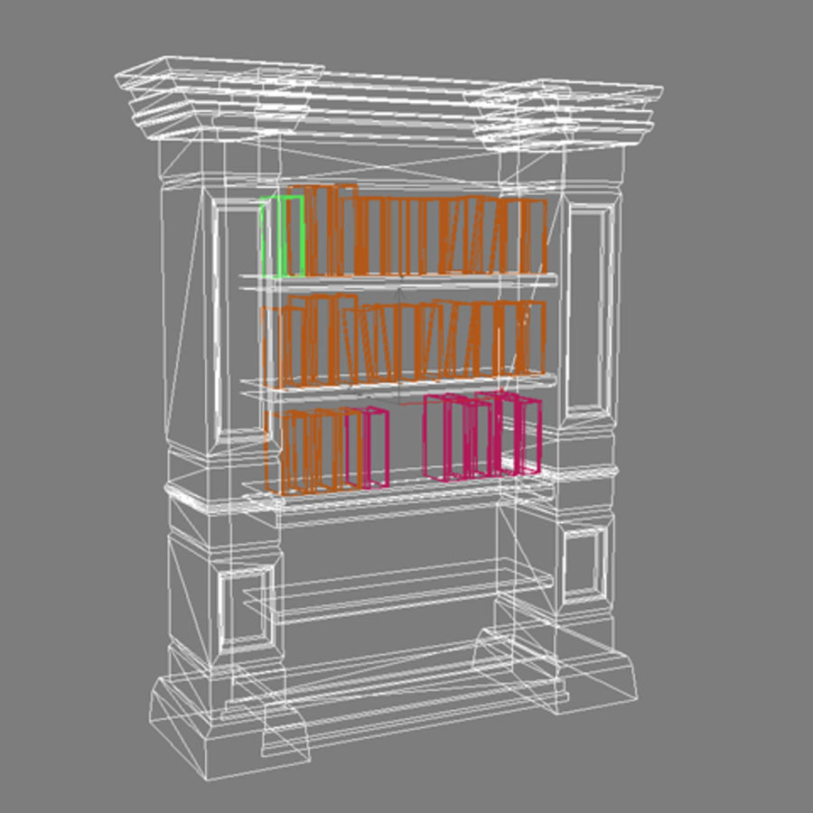 Antique Bookshelf royalty-free 3d model - Preview no. 3