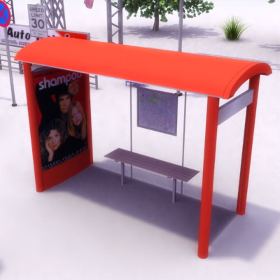 StreetFurniture Set 01 royalty-free 3d model - Preview no. 13