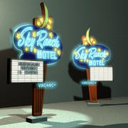 Sky Ranch Motel sign 01 3d model