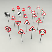 Road signs UK 3d model