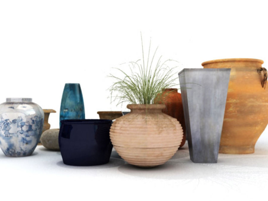 PLANT POTS & VASES royalty-free 3d model - Preview no. 2