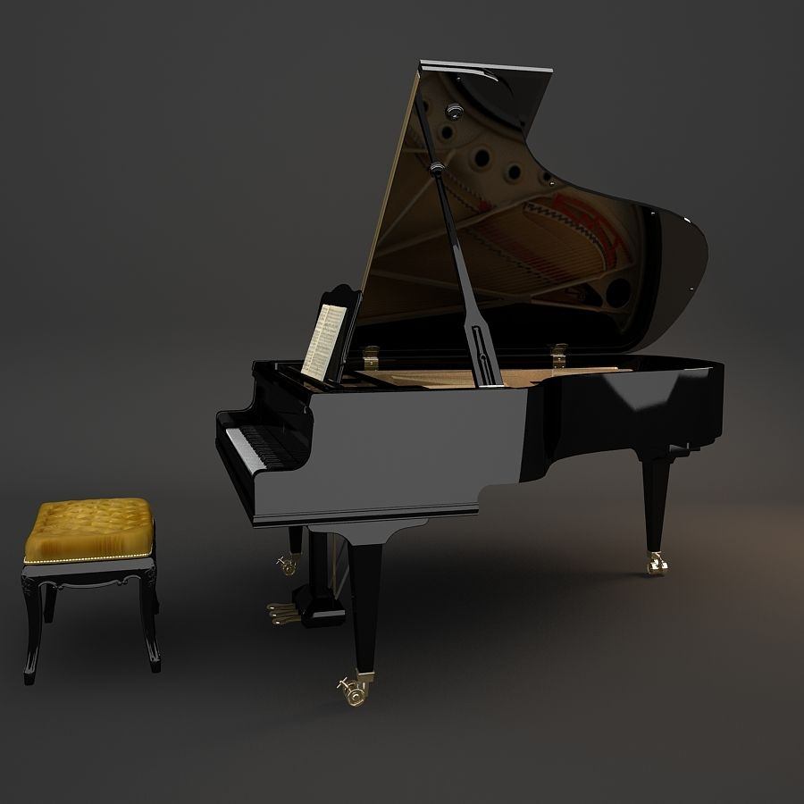 Grand Piano royalty-free 3d model - Preview no. 7