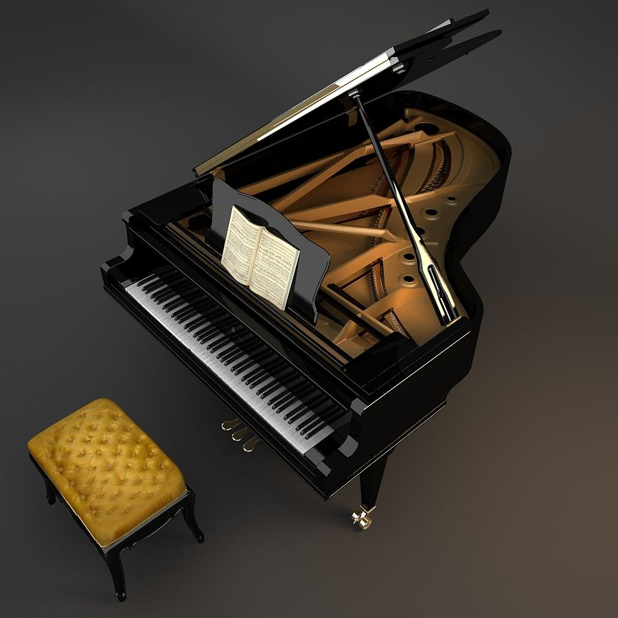 Grand Piano royalty-free 3d model - Preview no. 9