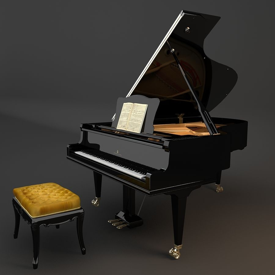Grand Piano royalty-free 3d model - Preview no. 5