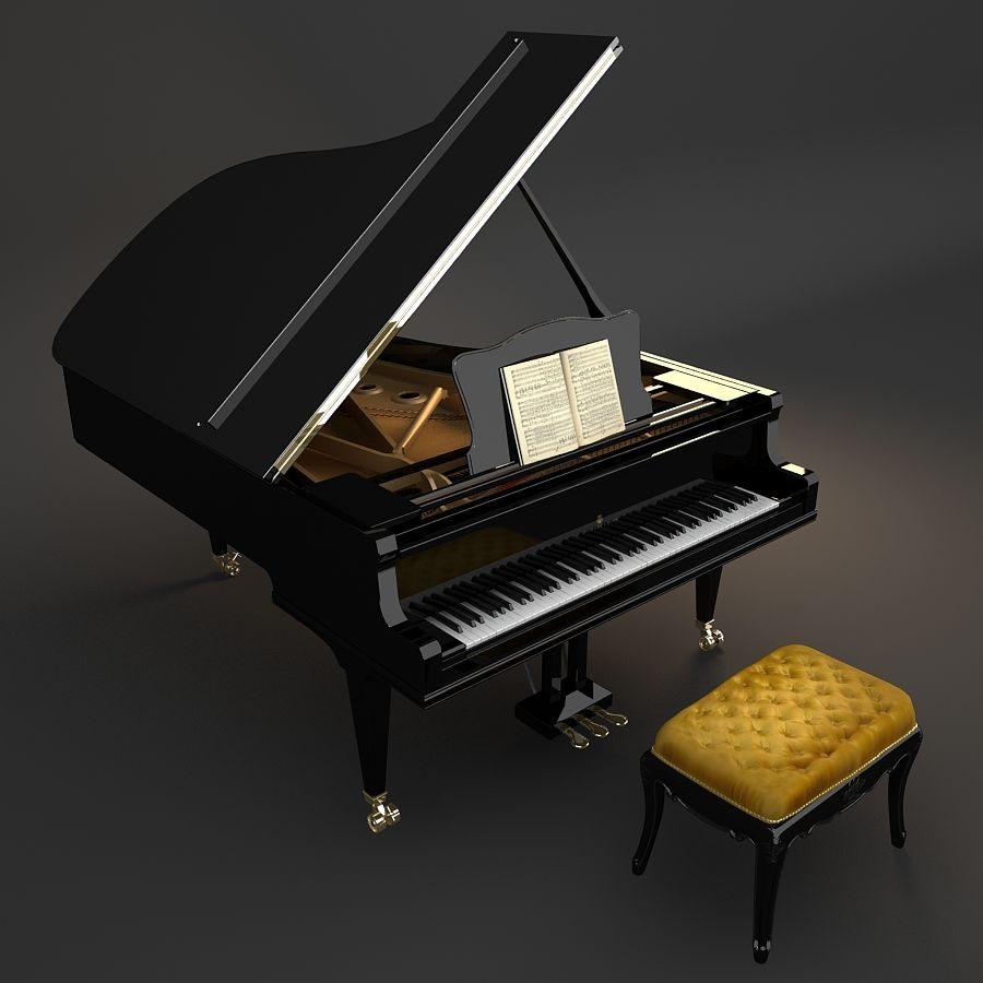 Grand Piano royalty-free 3d model - Preview no. 8