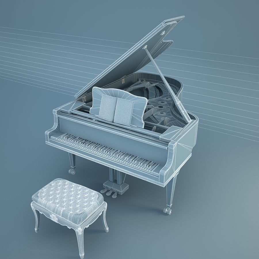 Grand Piano royalty-free 3d model - Preview no. 11
