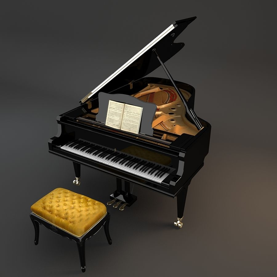 Grand Piano royalty-free 3d model - Preview no. 3