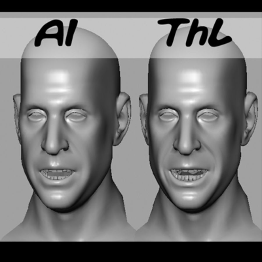Male Head with Morph Targets royalty-free 3d model - Preview no. 10