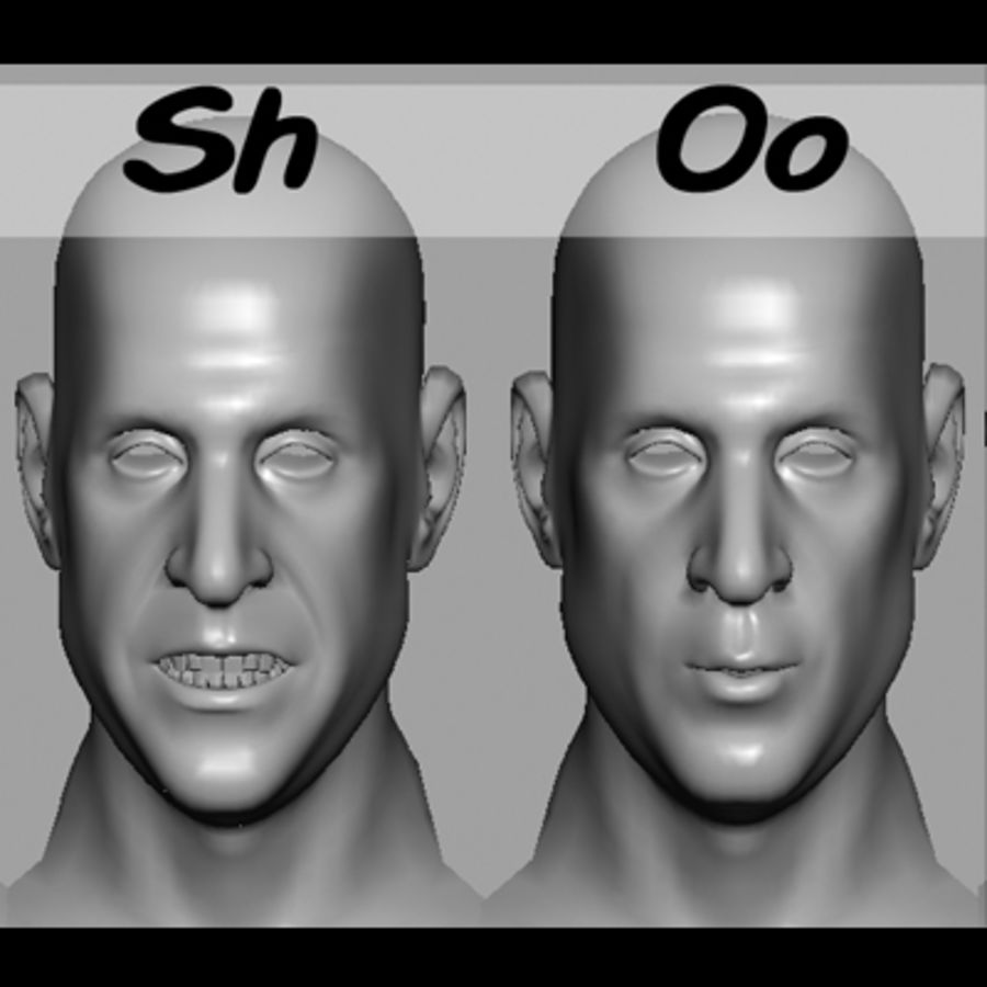 Male Head with Morph Targets royalty-free 3d model - Preview no. 20