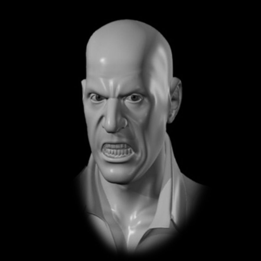 Male Head with Morph Targets royalty-free 3d model - Preview no. 9