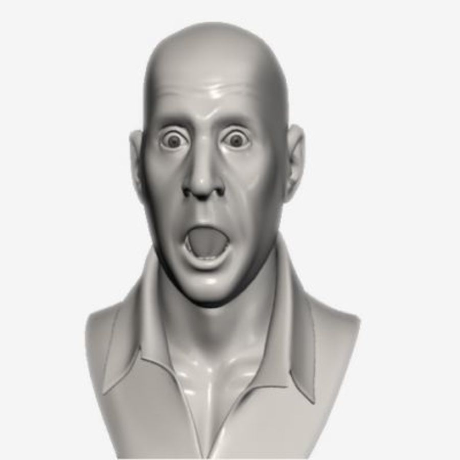Male Head with Morph Targets royalty-free 3d model - Preview no. 3