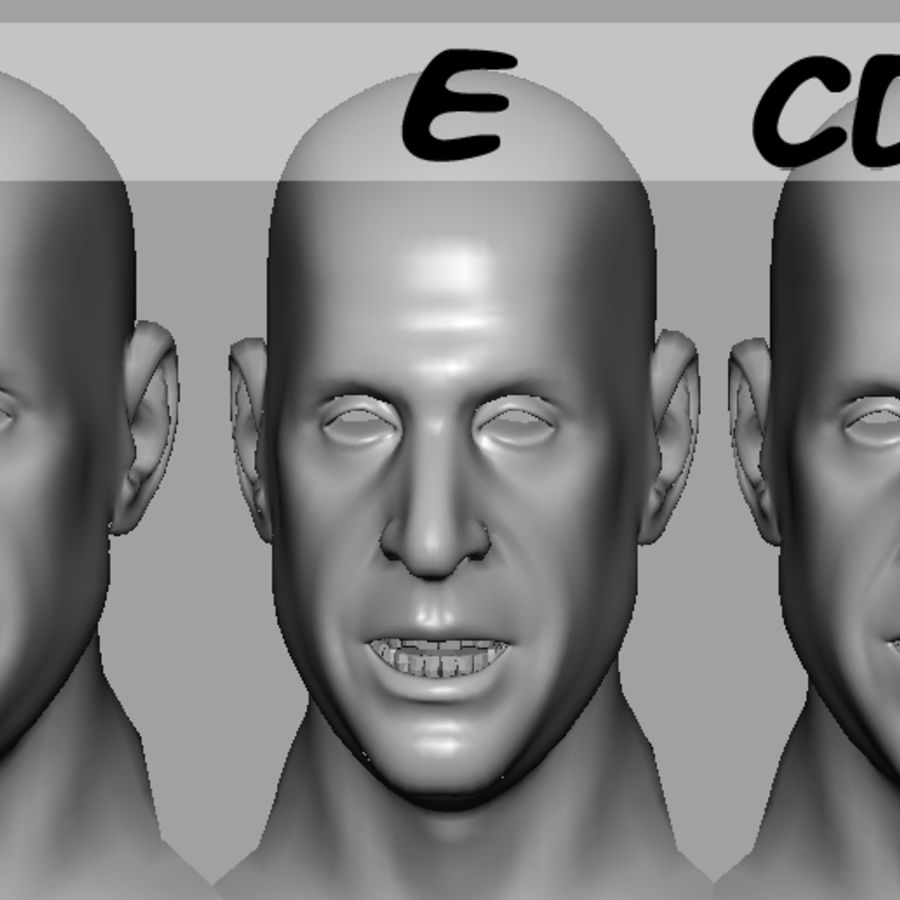 Male Head with Morph Targets royalty-free 3d model - Preview no. 18