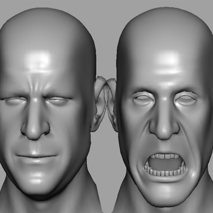 Male Head with Morph Targets royalty-free 3d model - Preview no. 13
