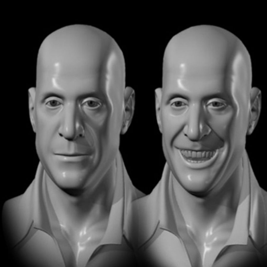 Male Head with Morph Targets royalty-free 3d model - Preview no. 8