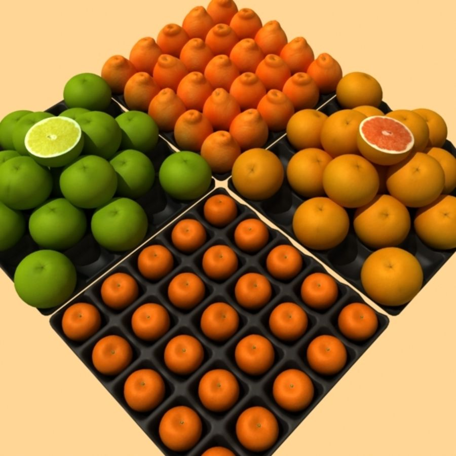 葡萄柚,橙,普通话集合 royalty-free 3d model - Preview no. 1