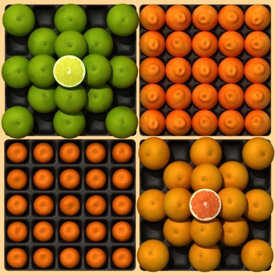 葡萄柚,橙,普通话集合 royalty-free 3d model - Preview no. 2