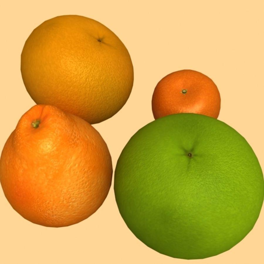 葡萄柚,橙,普通话集合 royalty-free 3d model - Preview no. 7