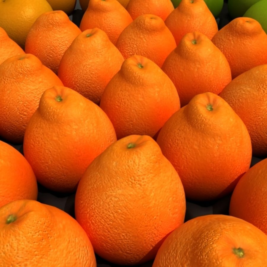 葡萄柚,橙,普通话集合 royalty-free 3d model - Preview no. 4