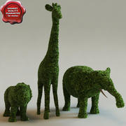 Krzewy w postaci zwierząt 3d model
