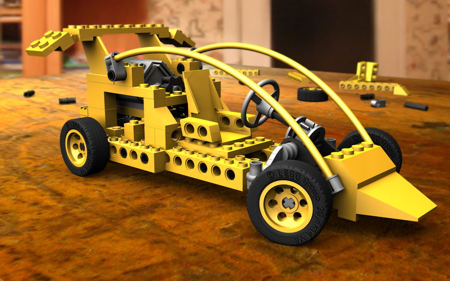 LEGO toy car royalty-free 3d model - Preview no. 1
