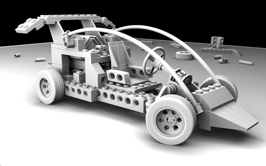 LEGO toy car royalty-free 3d model - Preview no. 5