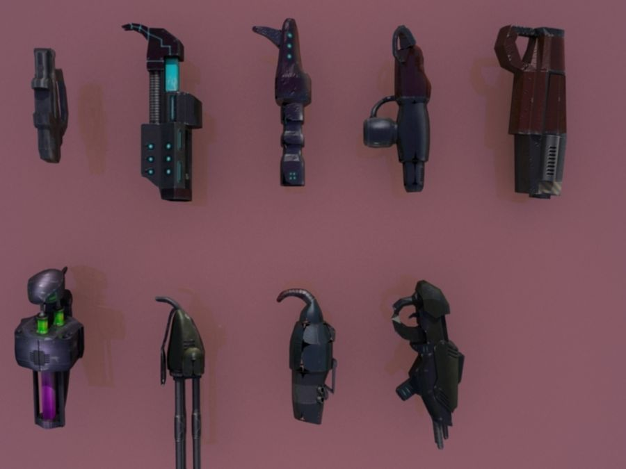 Sci Fi weapons royalty-free 3d model - Preview no. 1