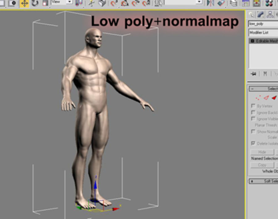Homme athlétique + cartes normales royalty-free 3d model - Preview no. 16