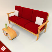Kanapa na palety drewniane 3d model