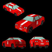 Car - Red Racing Coupe 3d model