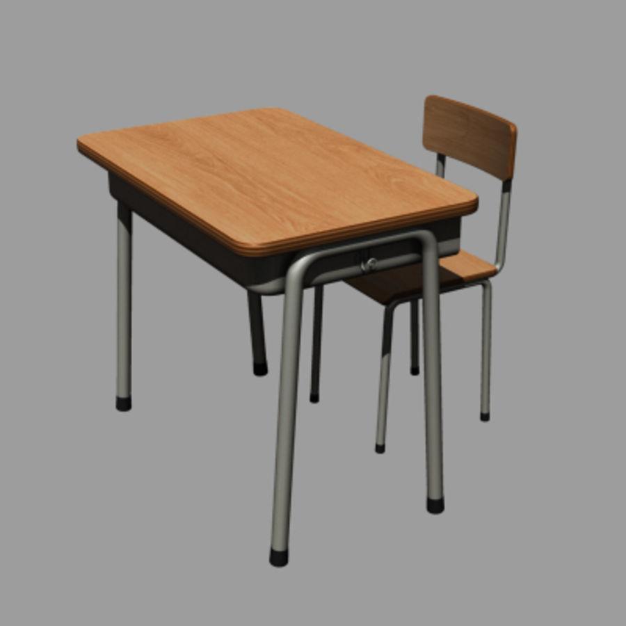banco di scuola royalty-free 3d model - Preview no. 2