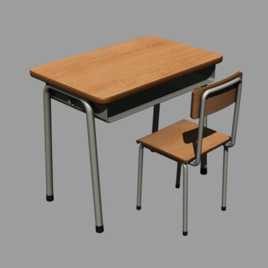 banco di scuola royalty-free 3d model - Preview no. 1