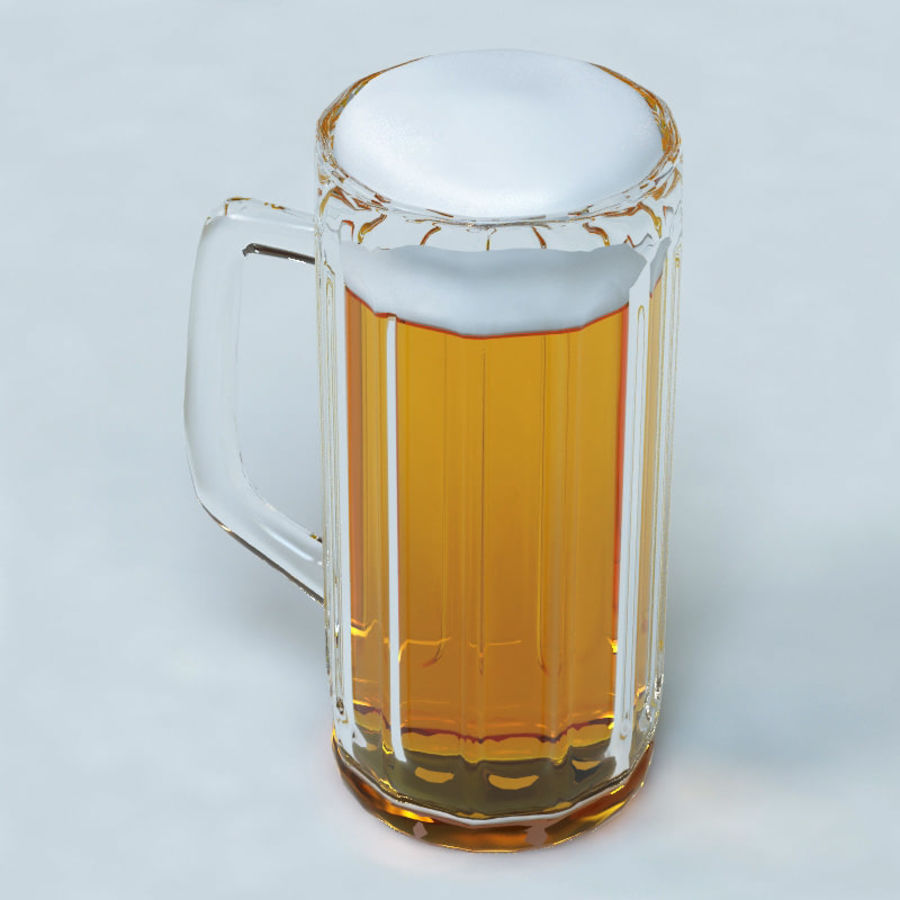 Beer glass V2 royalty-free 3d model - Preview no. 2