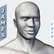 제임스 (아프리카 남성 머리) 3d model