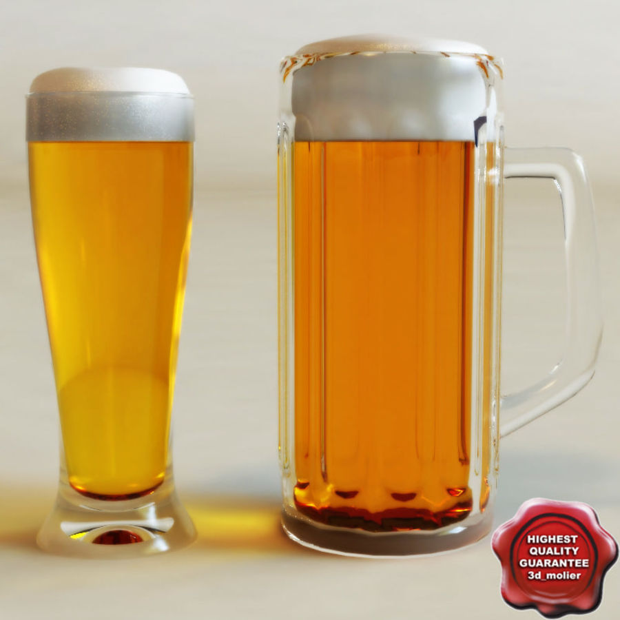 Beer glass collection royalty-free 3d model - Preview no. 1
