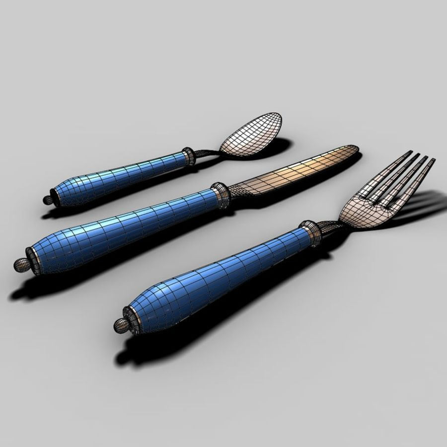 Widelec nóż łyżka royalty-free 3d model - Preview no. 8