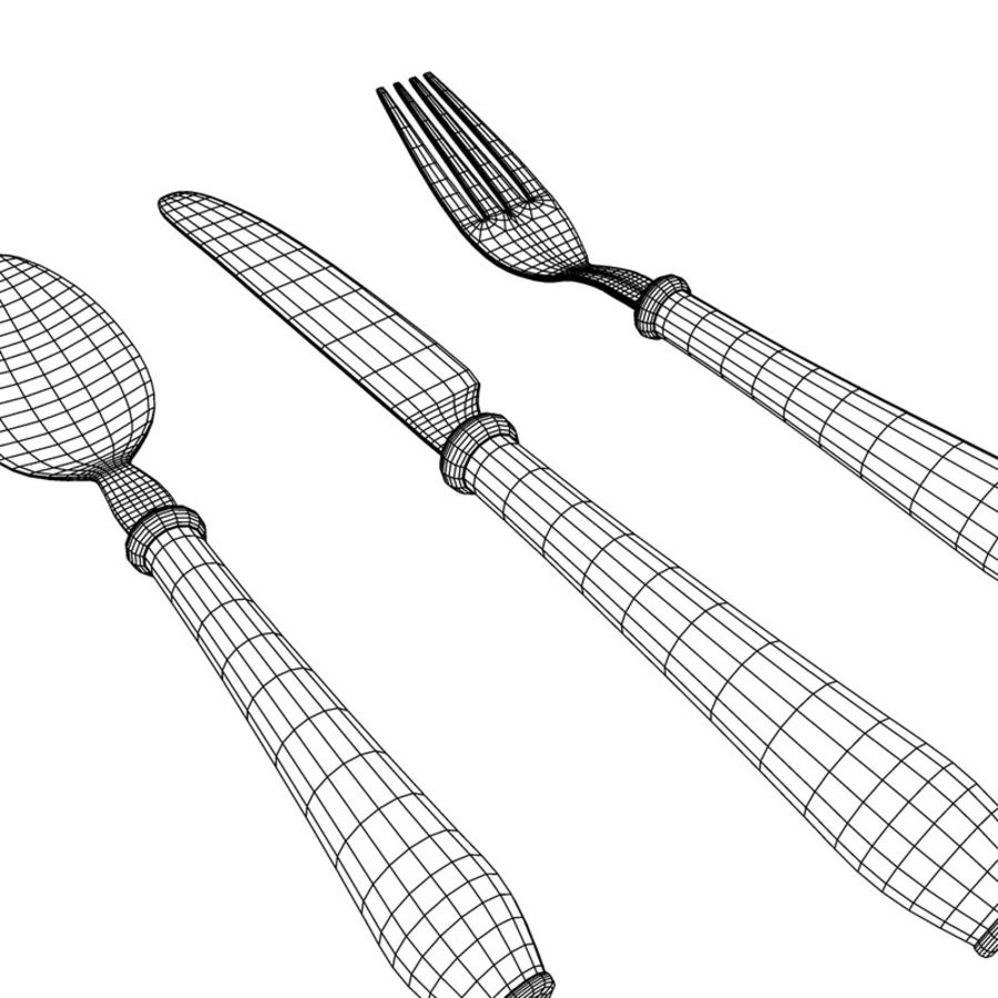 Fork Knife Spoon royalty-free 3d model - Preview no. 7