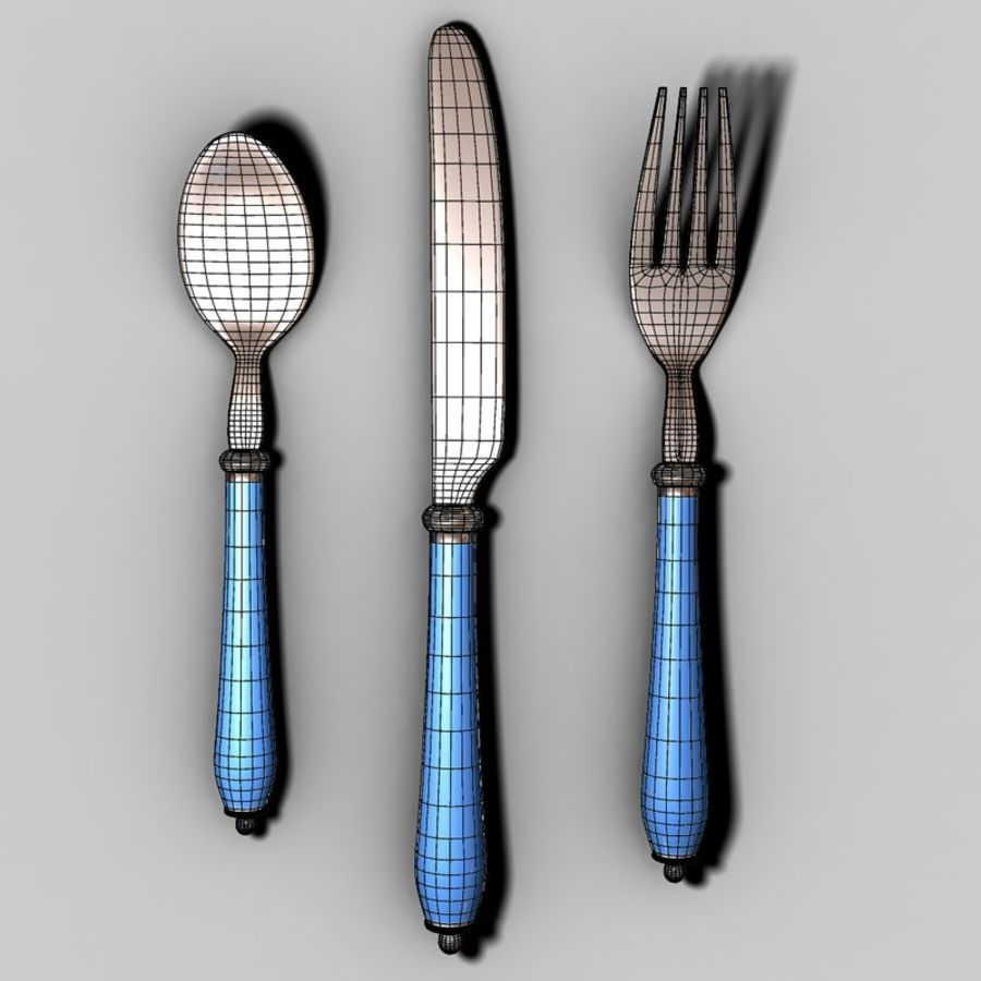 Fork Knife Spoon royalty-free 3d model - Preview no. 4