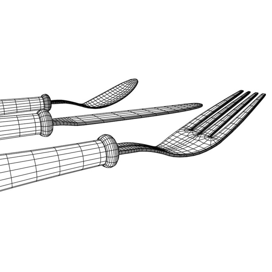 Fork Knife Spoon royalty-free 3d model - Preview no. 16