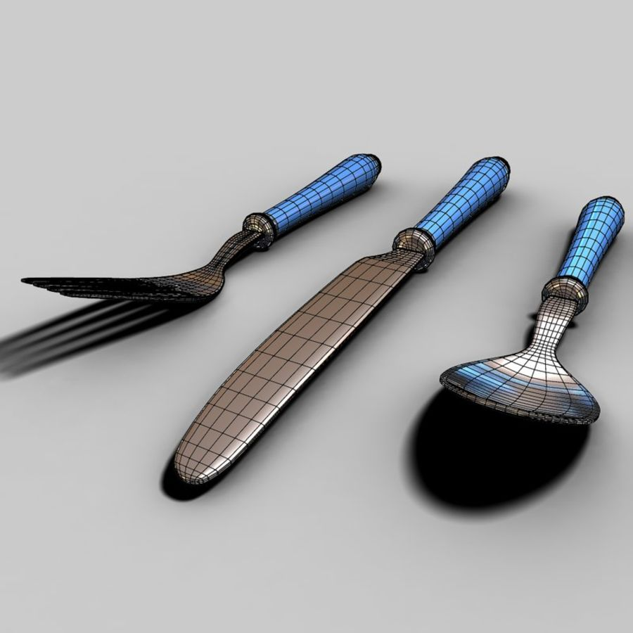 Fork Knife Spoon royalty-free 3d model - Preview no. 11