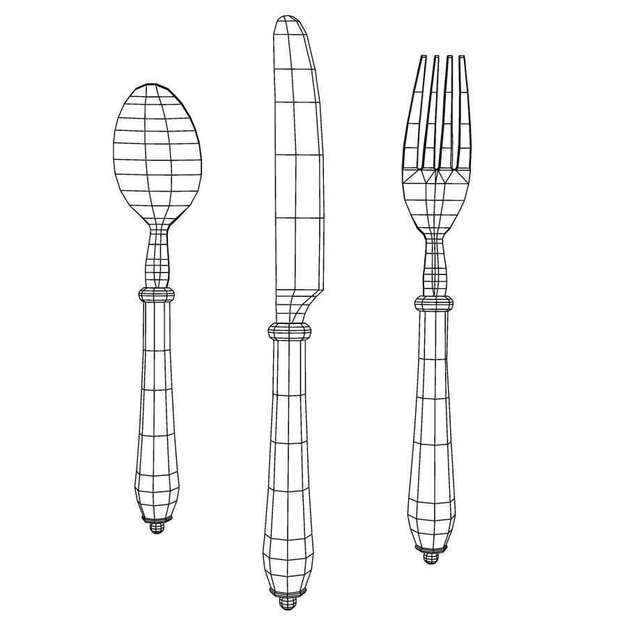 Fork Knife Spoon royalty-free 3d model - Preview no. 17