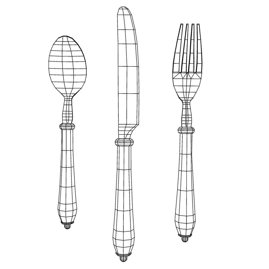 Widelec nóż łyżka royalty-free 3d model - Preview no. 17