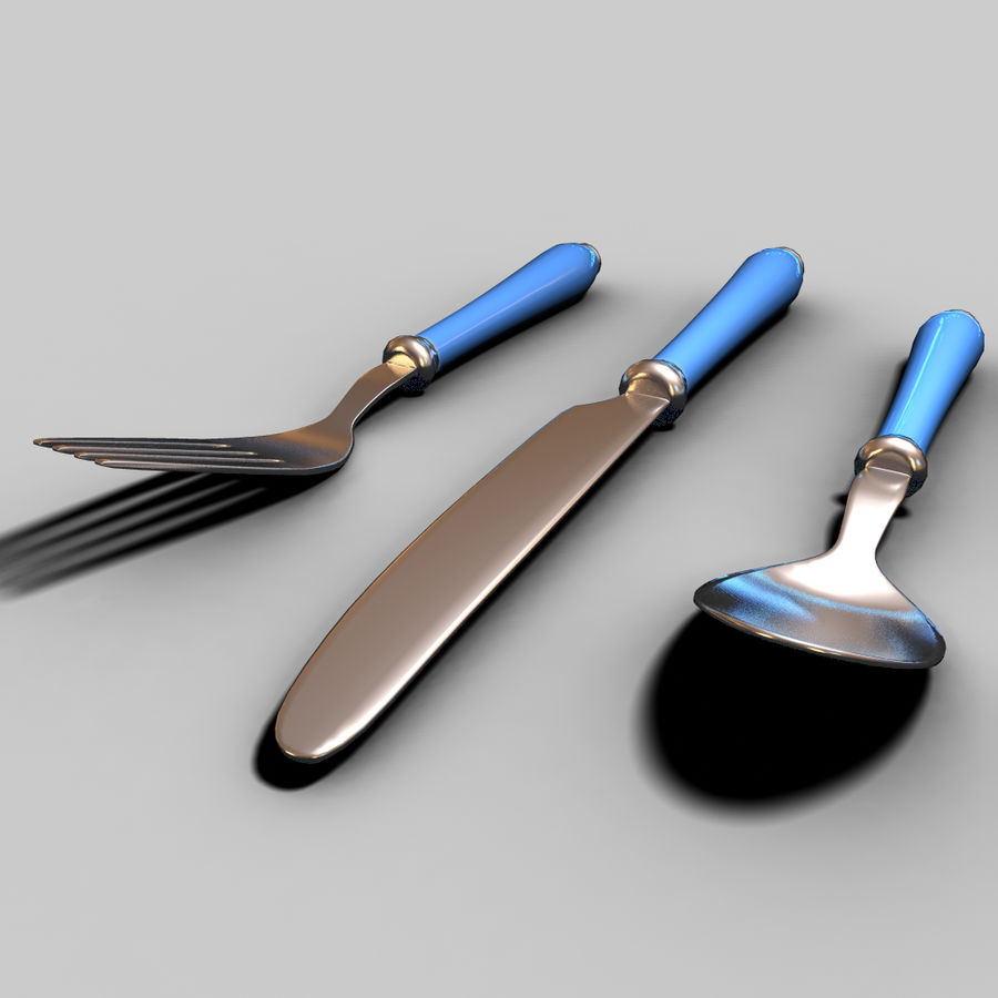 Fork Knife Spoon royalty-free 3d model - Preview no. 12