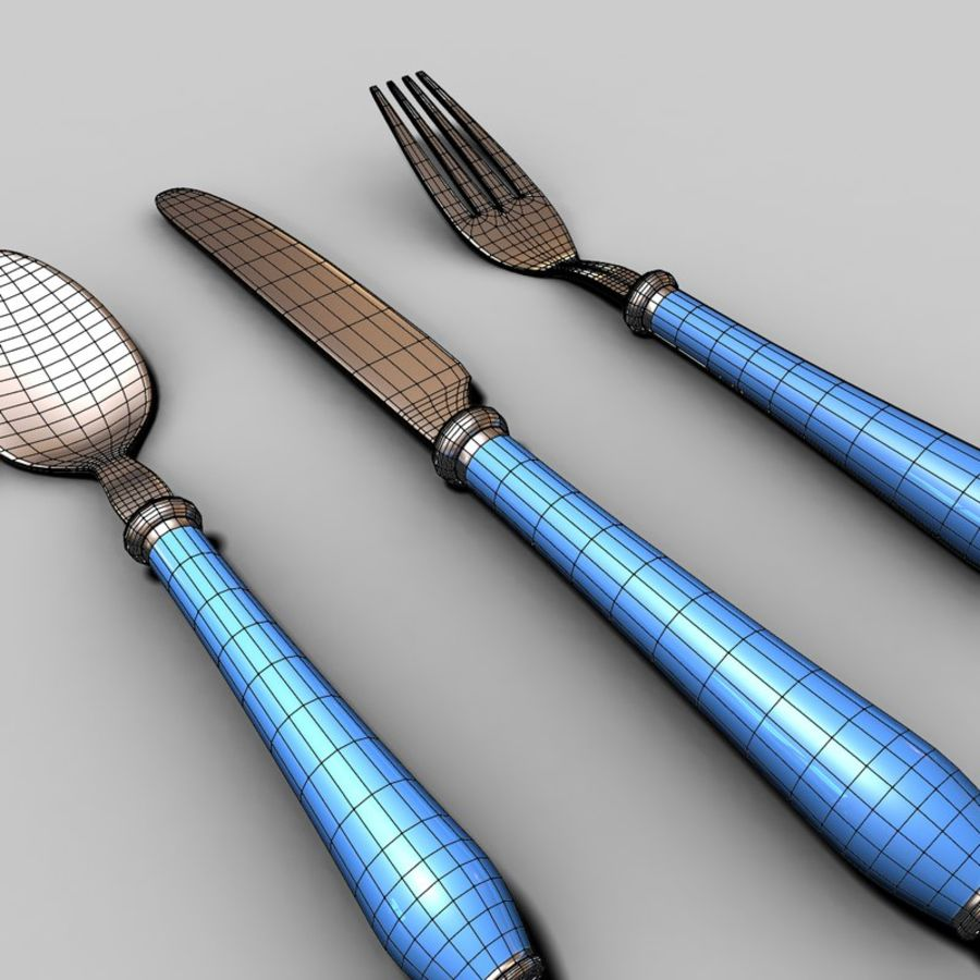 Widelec nóż łyżka royalty-free 3d model - Preview no. 6