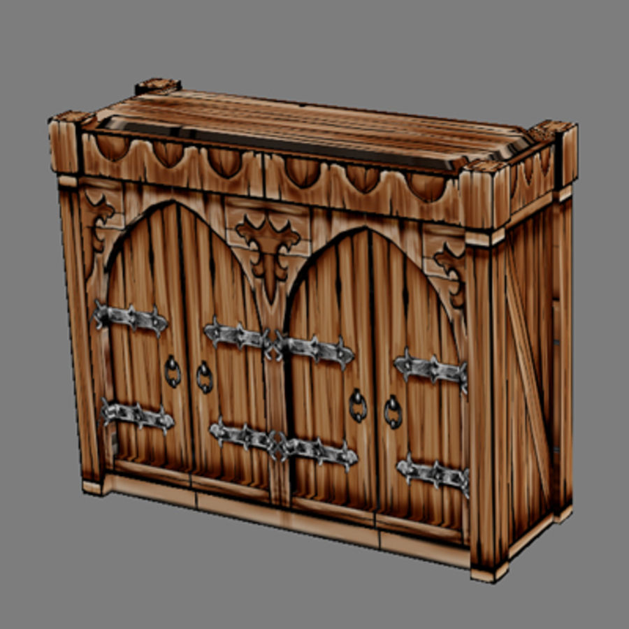 Lowpoly - Furniture - Cupboard royalty-free 3d model - Preview no. 1