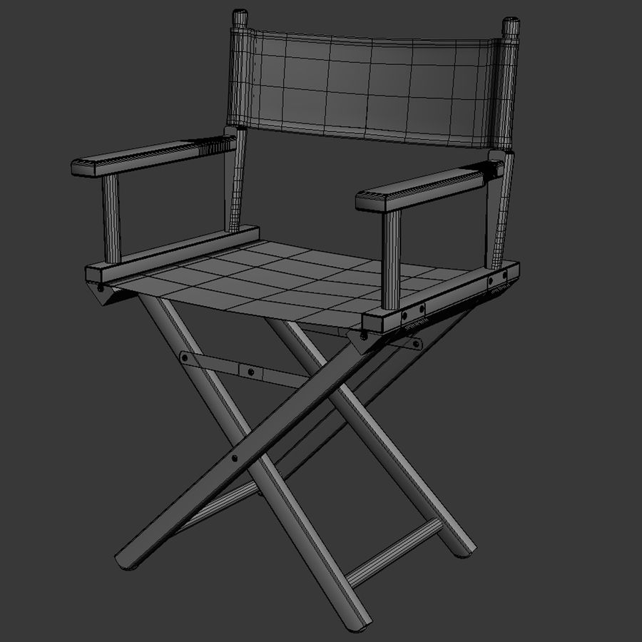 Director Chair Black royalty-free 3d model - Preview no. 11