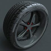 Obręcz ze stopu ze szczegółową oponą 3d model