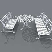 Cast iron Garden table & chair 3d model