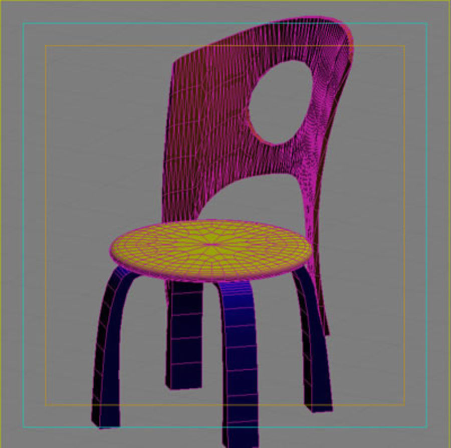 Cartoon Chair royalty-free 3d model - Preview no. 7