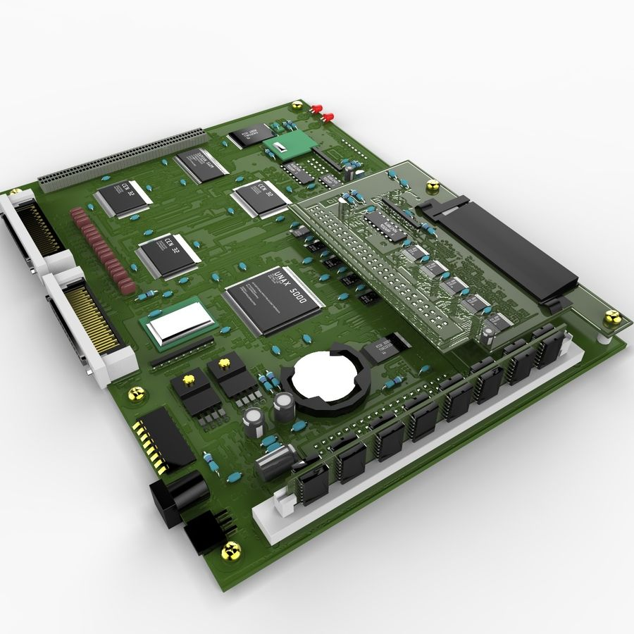 Electronic Circuit Board royalty-free 3d model - Preview no. 1